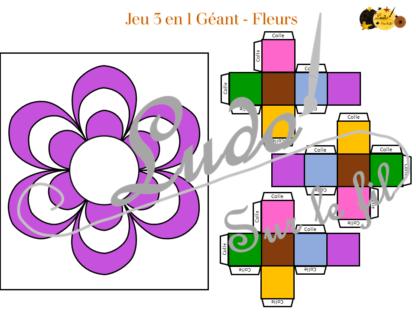 Jeu 3 en 1 Géant fleurs à télécharger et à imprimer - Couleurs et noir et blanc à colorier - Memory - Mistigri - Jeu couleurs aux dés - Printemps - lslf