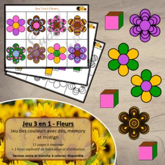 Jeu 3 en 1 fleurs à télécharger et à imprimer - Couleurs et noir et blanc à colorier - Memory - Mistigri - Jeu couleurs aux dés - Printemps - lslf