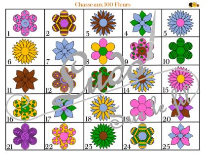 Chasse aux 100 fleurs à télécharger et à imprimer - Couleurs et noir et blanc à colorier - chasse géante intérieure - Printemps - lslf