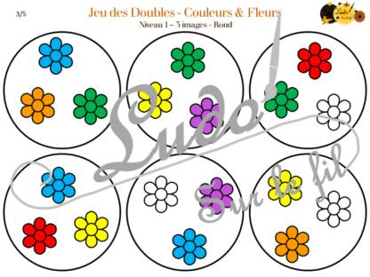 Jeu des doubles - fleurs et couleurs à télécharger et à imprimer - 3 niveaux (3 4 5 images) - Rond et Carré - Printemps - gratuit - lslf