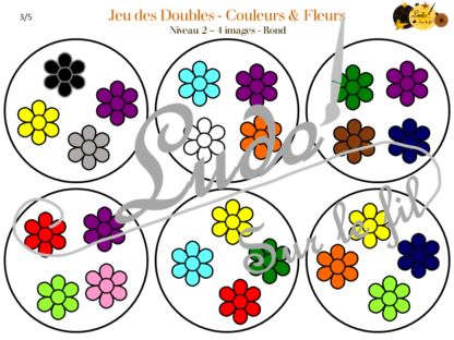 Jeu des doubles - fleurs et couleurs à télécharger et à imprimer - 3 niveaux (3 4 5 images) - Rond et Carré - Printemps - lslf