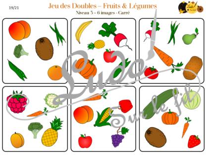 Jeu des doubles - fruits et légumes à télécharger et à imprimer - 3 niveaux (4 5 6 images) - Rond et Carré - Printemps - Dooble - lslf