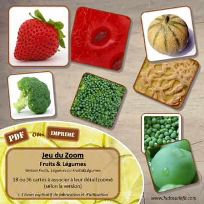 Jeu du zoom - Fruits et Légumes - Potager - Printemps - cartes classifiées à associer aux détails - jeu à télécharger et à imprimer ou jeu imprimé- atelier maternelle - vocabulaire et connaissances - autocorrectif - lslf