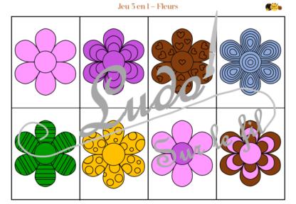 Jeu 3 en 1 Fleurs - à télécharger et à imprimer - Couleurs - Memory - Mistigri - Jeu couleurs aux dés - Printemps - Discrimination visuelle - Rapidité et observation - lslf