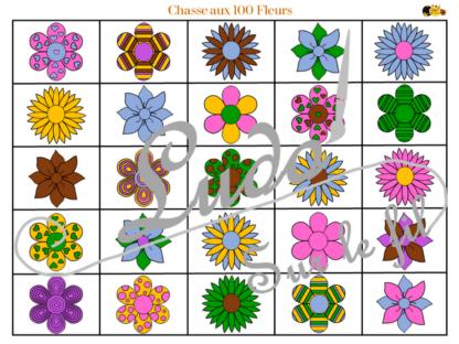 Chasse aux 100 fleurs à télécharger et à imprimer - Couleurs et noir et blanc à colorier - chasse géante intérieure - Printemps - Observation, discrimination visuelle, patience - recherche - lslf