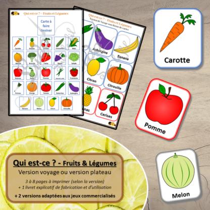 Qui est-ce ? - fruits et légumes - à télécharger et à imprimer - Version plateau ou de voyages - cartes - adapté au jeu classique ou au jeu à fiches amovibles - Printemps - lslf