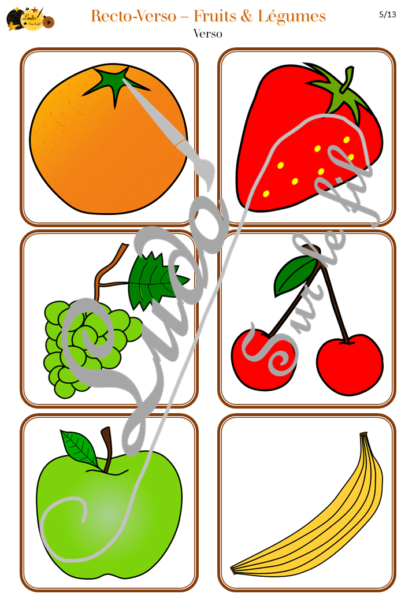 Recto-verso - fruits et légumes - 30 cartes recto-verso - jeu progressif - mémoire, observation, rapidité - à télécharger et à imprimer - Printemps - lslf