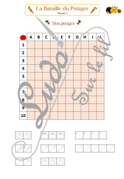 La bataille du potager - fruits et légumes - jeu de type bataille navale - repérage espace - 3 niveaux - à télécharger et à imprimer - Printemps - lslf