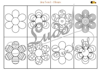 Jeu 3 en 1 Fleurs - à télécharger et à imprimer - Couleurs - Memory - Mistigri - Jeu couleurs aux dés - Printemps - Discrimination visuelle - Rapidité et observation - noir et blanc à colorier - lslf