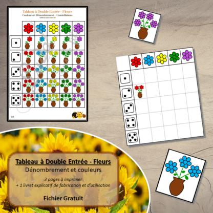 Tableau à double entrée - fleurs - couleurs, dénombrement, reconnaissance constellations - à télécharger et à imprimer - Gratuit - Printemps - lslf