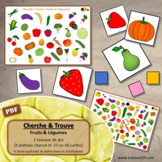 Cherche et Trouve - Lynx - Fruits et légumes - Potager et printemps - 1 plateau et 33 ou 66 cartes à trouver - 2 niveaux - jeu - observation, rapidité - à télécharger et à imprimer - atelier maternelle- lslf