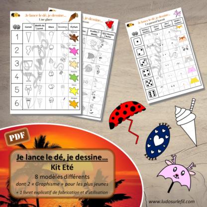 Je lance le dé, je dessine - Kit été - glace, parasol, kawaii, serviette plage, poisson, coquillage, dessin et graphisme - constellations dé et chiffre - à télécharger - à imprimer - lslf