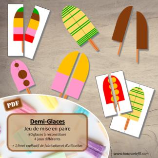 Jeu de mise en paire - Demi-Glaces - 80 glaces à reconstituer -- 4 progressifs - jeu - observation - discrimination visuelle - à télécharger et à imprimer - Eté - lslf