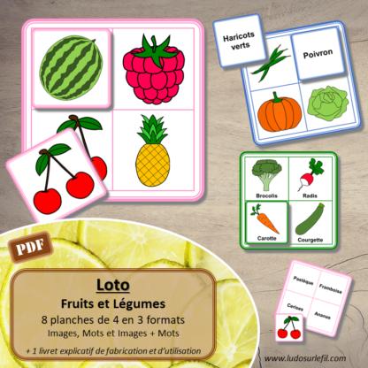 Loto - fruits et légumes - images noms - jeu progressif et à combiner - lecture et observation - à télécharger et à imprimer - Printemps - lslf