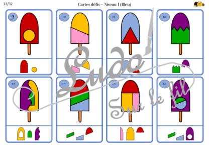 Jeu de logique - Casse-Tête - Reconstitue la glace - 40 défis progressifs - 4 niveaux de jeu - Correction - jeu - observation- à télécharger et à imprimer - Eté - lslf