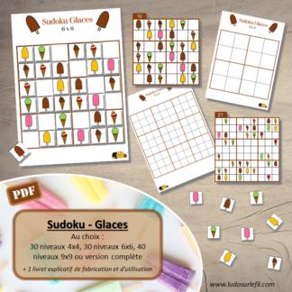 Jeu de sudoku à manipuler - Glaces et été - 30 niveaux 4x4 très faciles - 30 6x6 faciles - 40 9x9 difficiles - débutants et confirmés - logique - à télécharger et à imprimer - lslf