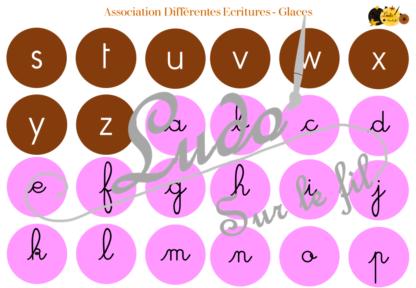 Jeu d'association différentes graphies des lettres - Glaces - Ecritures majuscule script et cursif - Ordre alphabétique - Alphabet - Atelier autonome maternelle - IEF - à télécharger et imprimer - lslf