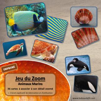 Jeu du zoom - animaux marins - Imprimé, plastifié et découpé - mer - cartes à associer aux détails - atelier maternelle - Eté - lslf