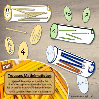 Trousses mathématiques : jeu / atelier pour travailler différentes représentations des nombres, petites additions, dénombrement avec des crayons - matériel scolaire - vocabulaire - autonome maternelle - à télécharger et imprimer - lslf