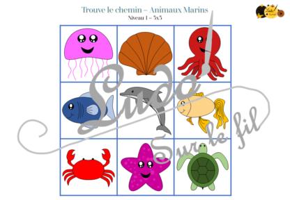 Trouve le chemin, le parcours codé - animaux marins - mer et été - repérage et vocabulaire spatial - jeu et atelier autonome Maternelle (Cycle 1) et Primaire (Cycle 2) - à télécharger et à imprimer - difficulté progressive et solutions - lslf