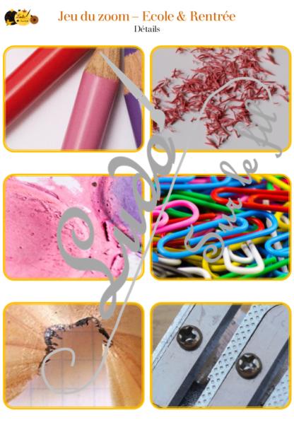 Jeu du zoom - école et rentrée - matériel scolaire - cartes à associer aux détails - à télécharger et à imprimer - atelier maternelle - lslf