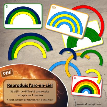 Ce fichier à télécharger et à imprimer permet de fabriquer un jeu de logique et de reproduction d'un modèle sur le thème de l'arc-en-ciel. Il propose : 36 pièces Arc-en-ciel, 56 défis de difficulté progressive partagés en 4 niveaux : Niveau 1 : 8 défis avec 3 arcs de 3 couleurs différentes (9 pièces), Niveau 2 : 8 défis avec 4 arcs de 4 couleurs différentes (16 pièces), Niveau 3 : 16 défis avec 5 arcs de 5 couleurs différentes (25 pièces), Niveau 4 : 24 défis avec les 6 arcs de 6 couleurs (36 pièces). Il est composé de 3 pages explicatives sur la fabrication et l'utilisation, 10 pages de jeu à imprimer et une proposition de dos pour les cartes Défis. Vous trouverez d'autres jeux sur le thème de la météo ici.