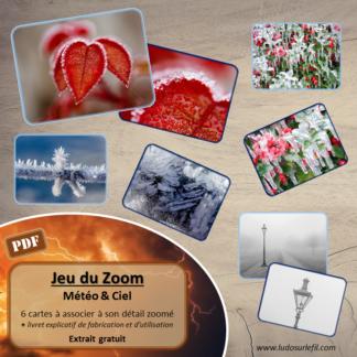 Jeu du zoom - météo, nuit et ciel - 42 cartes à associer aux détails - à télécharger et à imprimer - atelier maternelle - extrait gratuit - lslf