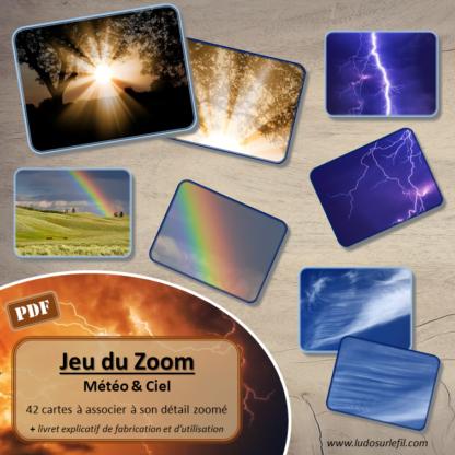 Jeu du zoom - météo, nuit et ciel - 42 cartes à associer aux détails - à télécharger et à imprimer - atelier maternelle - lslf