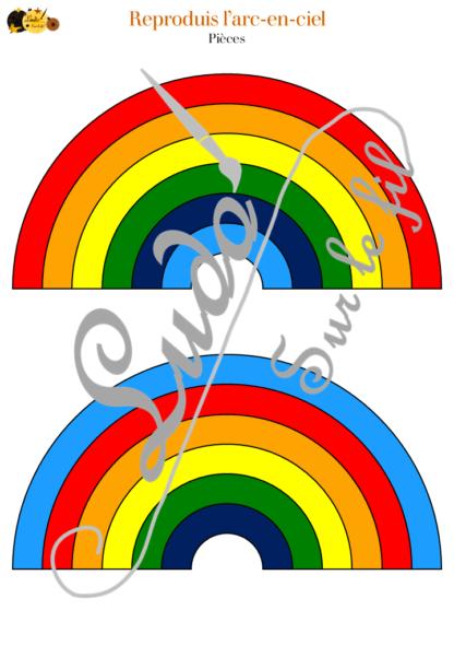 Reproduis l'arc-en-ciel : jeu de logique et de reproduction de modèle - météo et ciel - 36 pièces et 56 défis difficulté progressive - à télécharger et à imprimer - atelier maternelle et élémentaire - travail couleurs et taille- lslf