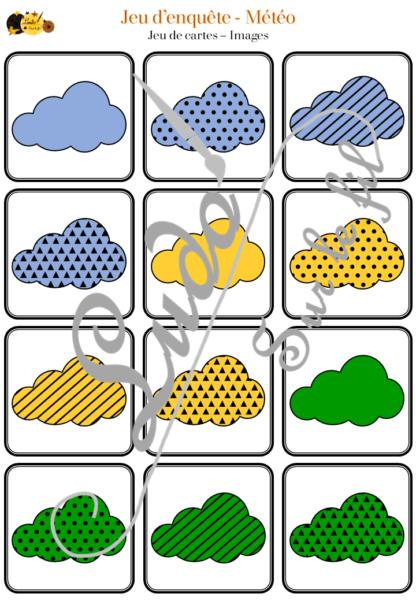Jeu d'enquête 2 en 1 sur le thème de la météo et du ciel : Cartes et Plateau - Indices, Logique et déduction type qui est-ce ? - vocabulaire - jeu autonome collaboratif collectif - jeu à télécharger - lslf
