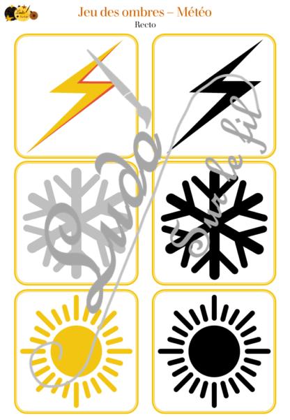 Jeu des ombres - météo et ciel - cartes à associer aux ombres - à télécharger et à imprimer - atelier maternelle - lslf