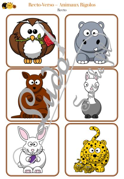 Recto-verso - animaux rigolos - 36 cartes recto-verso - jeu progressif - mémoire, observation, rapidité - à télécharger et à imprimer - lslf