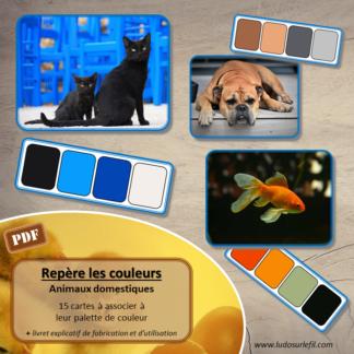 Jeu repère les couleurs - Animaux domestiques - photos / cartes à associer aux palettes de couleurs - à télécharger et à imprimer - atelier maternelle - observation, déduction, logique, discrimination visuelle - lslf