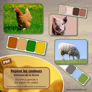 Jeu repère les couleurs - Animaux de la ferme - photos / cartes à associer aux palettes de couleurs - à télécharger et à imprimer - atelier maternelle - observation, déduction, logique, discrimination visuelle - lslf