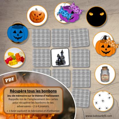 Récupère tous les bonbons - jeu de mémoire sur le thème d'Halloween - Rappelle-toi de l'emplacement des cartes et récupère les bonbons de tes adversaires - 2 à 4 joueurs - Variante du memor - Chasse aux bonbons - à télécharger et à imprimer - lslf