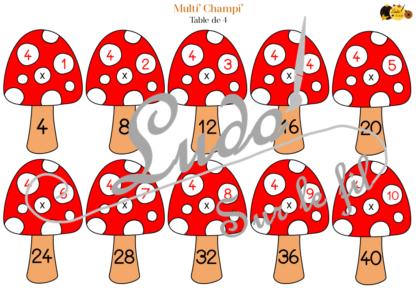 Jeu d'association Tables de multiplication - Champignons - Tables de 1 à 12 - Atelier manipulation Automne Cycle 2 et 3 - IEF - à télécharger et imprimer - lslf