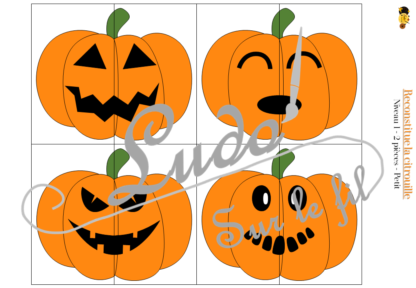 Reconstitue la citrouille - Jeu de mise en paire, puzzles - 30 citrouilles à reconstituer avec modèles 2 niveaux - 2 et 4 pièces - difficulté progressive - observation - discrimination visuelle - à télécharger et à imprimer - Automne et Halloween - lslf