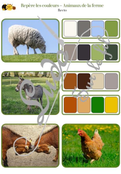 Jeu repère les couleurs - Animaux de la ferme - photos / cartes à associer aux palettes de 4 couleurs - à télécharger et à imprimer - atelier autocorrectif maternelle ou cycle 2 - observation, déduction, logique, discrimination visuelle, vocabulaire et lexique - lslf