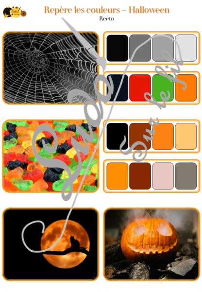 Jeu repère les couleurs - Halloween - photos / cartes à associer aux palettes de 4 couleurs - à télécharger et à imprimer - atelier autocorrectif maternelle ou cycle 2 - observation, déduction, logique, discrimination visuelle, vocabulaire et lexique - lslf