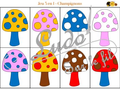 Jeu 3 en 1 champignons à télécharger et à imprimer - Couleurs - Memory - Mistigri - Jeu couleurs aux dés - Automne - lslf