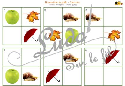 Reproduis la grille - automne - 48 modèles à reproduire - repérage dans l'espace et vocabulaire spatial - jeu et atelier autonome Maternelle (Cycle 1) et Primaire (Cycle 2) - à télécharger et à imprimer - difficulté progressive - lslf