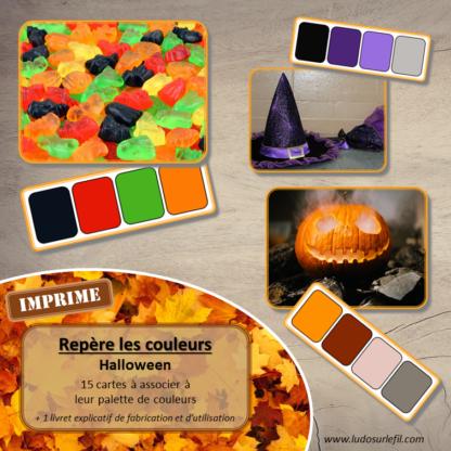 Jeu repère les couleurs - Halloween - photos / cartes à associer aux palettes de 4 couleurs - jeu imprimé - atelier autocorrectif maternelle ou cycle 2 - observation, déduction, logique, discrimination visuelle, vocabulaire et lexique - lslf