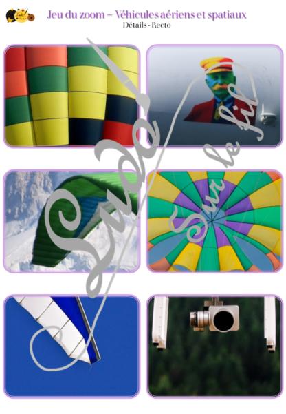 Jeu du zoom - véhicules et moyens de transport aériens et spatiaux, dans l'air, dans l'espace, qui volent - cartes à associer aux détails - à télécharger et à imprimer - atelier maternelle - lslf