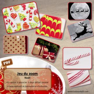 Jeu du zoom - Noël - Sapins, cadeaux, gourmandises, décorations, traditions - cartes à associer aux détails - à télécharger et à imprimer - atelier maternelle - vocabulaire et connaissances - lslf