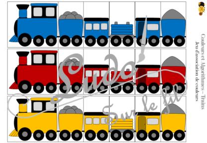 Jeu d'association de couleurs et jeu d'algorithmes sur le thème des trains - Locomotives et wagons - 72 défis de difficultés progressives - algorithmes à compléter - Atelier maternelle et cycle 2 (cp) - Véhicules terrestres - IEF - à télécharger et imprimer - lslf