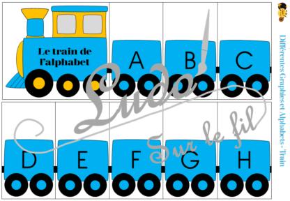 Jeu d'association différentes graphies des lettres - Trains - Locomotives et wagons - Ecritures majuscules minuscules scriptes et cursives - Ordre alphabétique et alphabet - Atelier autonome maternelle et cycle 2 (cp) - Véhicules terrestres - IEF - à télécharger et imprimer - lslf