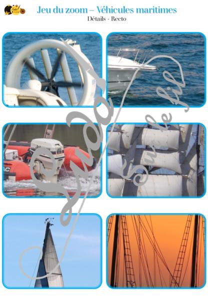 Jeu du zoom - véhicules et moyens de transport maritimes, sur l'eau, marins, sur la mer - cartes à associer aux détails - à télécharger et à imprimer - atelier maternelle - lslf