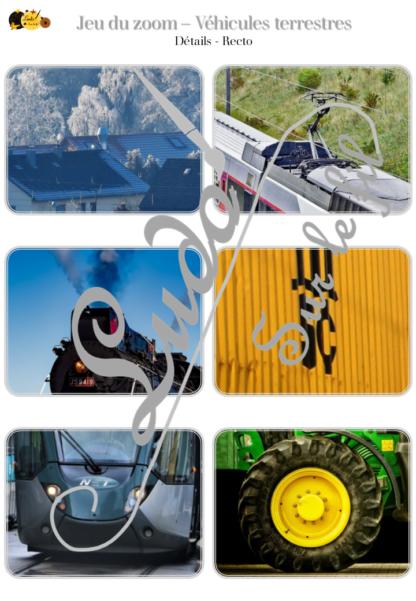 Jeu du zoom - véhicules et moyens de transport terrestres, sur terre- cartes à associer aux détails - à télécharger et à imprimer - atelier maternelle - lslf