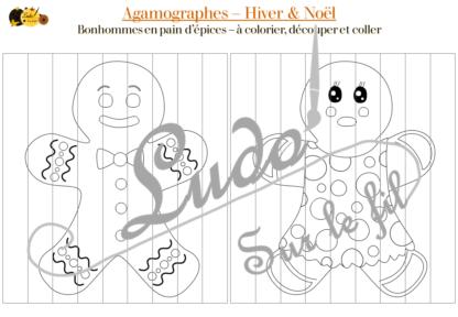 Agamographes - Kit Hiver et Noël - 4 Double-Tableaux - Illusions optique - Angle de vue - Plusieurs versions - à colorier ou à plier - Sapins, Bonhommes de neige, Bonhommes de pains d'épices, décorations - Coloriage en attendant Noël - Patience et précision - jeu à télécharger et à imprimer - lslf