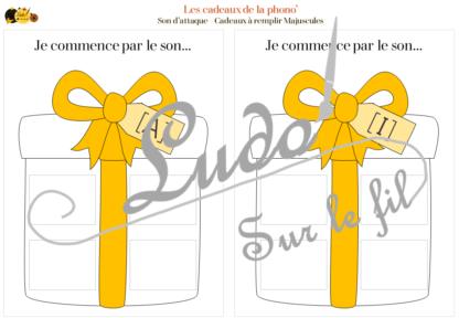 Les cadeaux de la phono' - Jeu / Atelier à télécharger et à imprimer pour travailler la phonologie - remplis les cadeaux avec les images en fonction de leur son d'attaque - 22 sons à travailler - voyelles, consonnes longues, consonnes courtes digramme Ch - autocorrectif - préparatoire à la lecture Maternelle - Thème cadeaux anniversaire et Noël - lslf